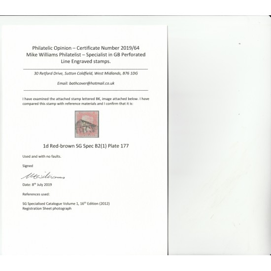 Penny Red Stamp Plate 177 (BK) with certificate