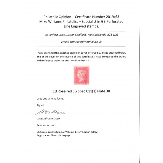 Penny Red Stamp  C11 Plate 38 with Cert