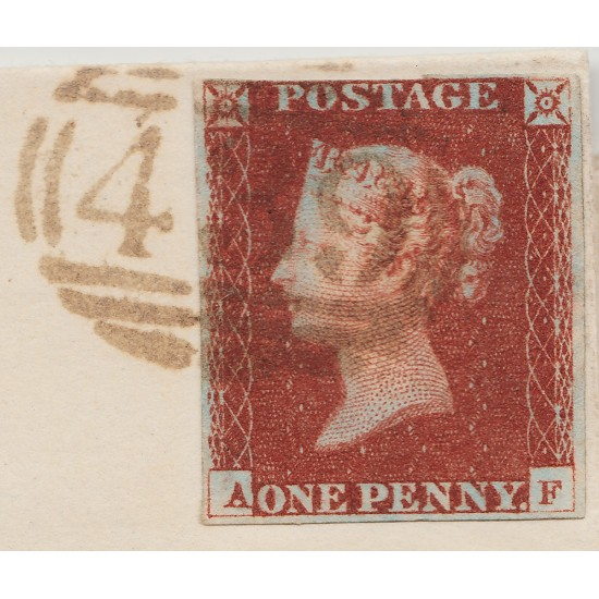 1841 Penny Red Stamp Plate 64 Brown Cancel & Cert