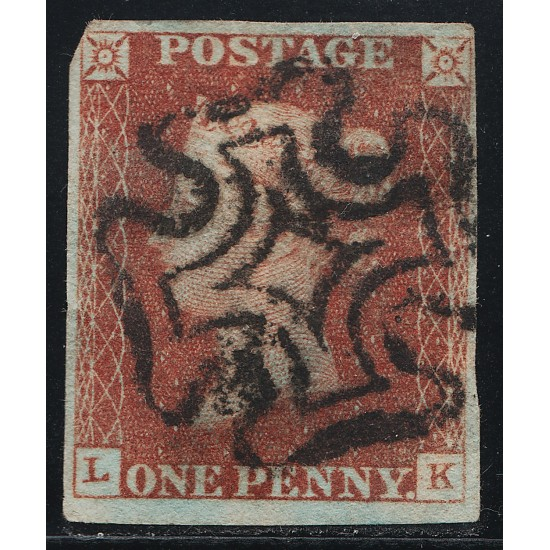 1841 Penny Red Stamp Spec BS1 Plate 12 (LK)
