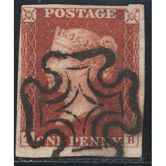 1841 Penny Red Stamp Spec BS1c Plate 12 (TB) Basal Shift