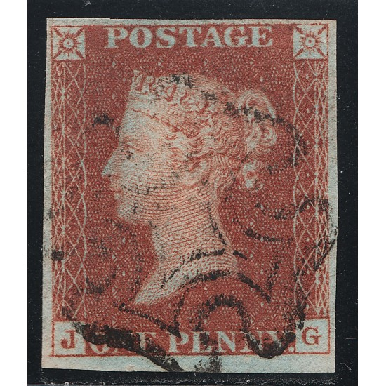 """1841 Penny Red Stamp Spec BS1e Plate 12 (JG)  """"J"""" Flaw"""
