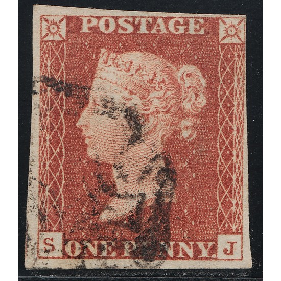 1841 Penny Red Stamp Spec BS1g Plate 12 (SJ) State 2