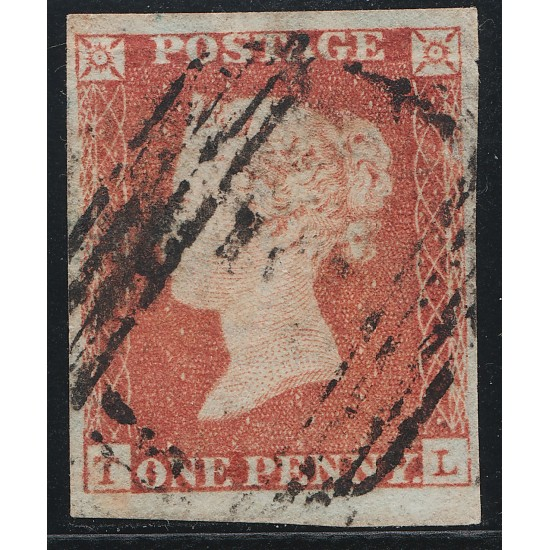 1848 Penny Red Stamp Plate 87 (TL) Basal Shift
