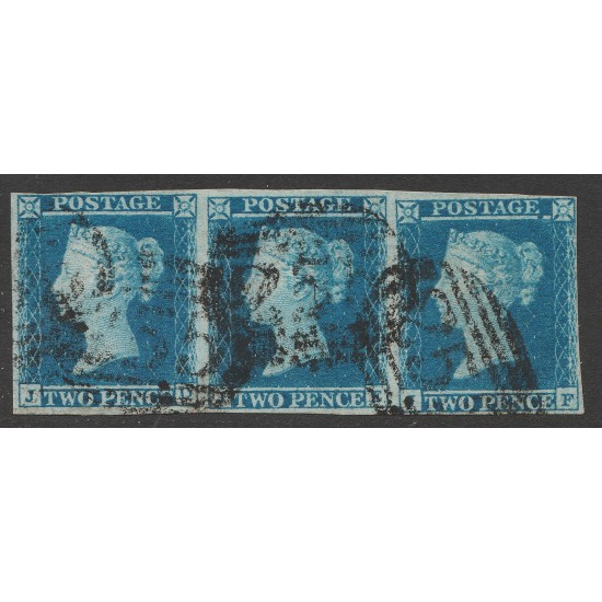 1849 2d Blue Stamps (Strip of 3 ) Plate 4 (JD-JF)