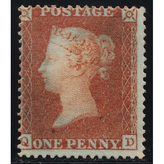 "1850 Penny Red Stamp ""Archer"" Plate 100 (QD) UnUsed SG16b Spec CE2"