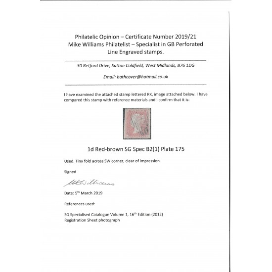 1853 Penny Red Stamp Spec B2 Plate 175 (RK) with Cert