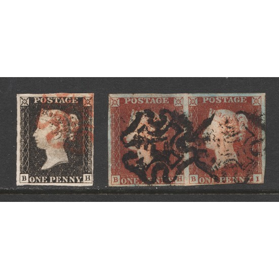 Penny Black Stamps (Matched Pair) Plate 2 (BH)