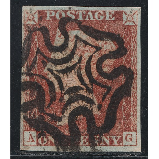 Penny Red Black Stamp Plate 1b (AG)