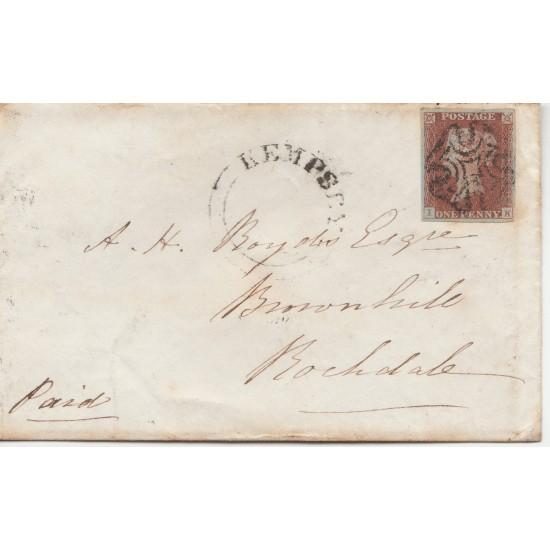 Penny Red Stamp Plate 12 on Cover