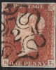 """Penny Red Stamp  Plate 25 (BL) """"2"""" in MX"""