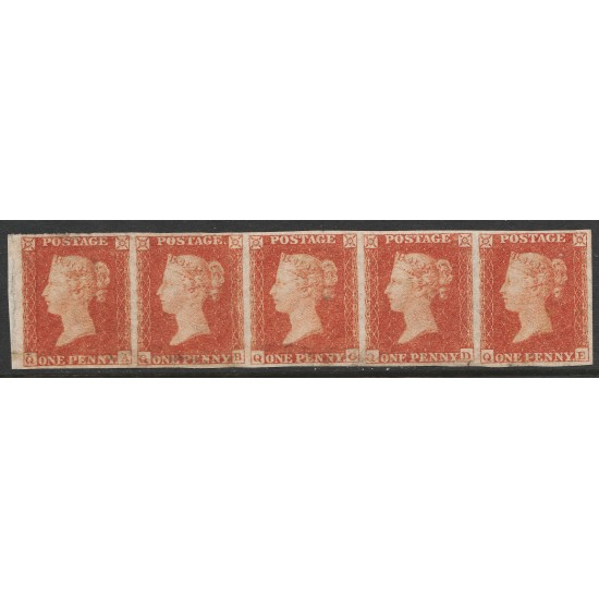 Penny Red Stamps Rare strip of 6 Plate 164 (QA-QE) Superb OG