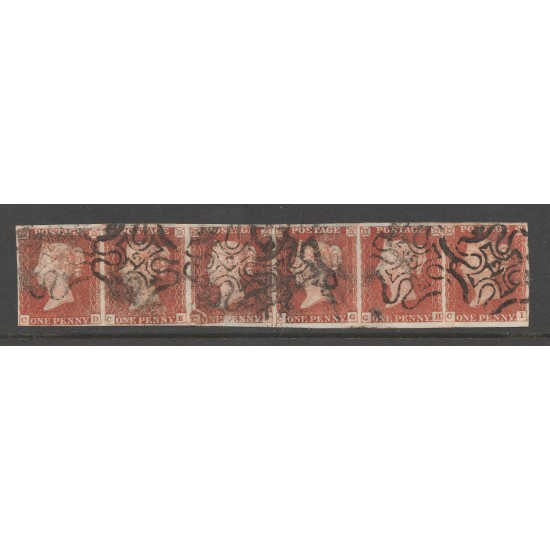 """Penny Red Stamps (Strip of 6) """"12"""" in MX"""